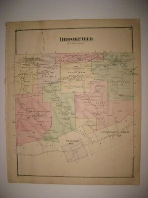 Antique 1875 Brookfield Township Westfield Tioga County Pennsylvania Handclr Map