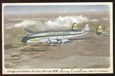 1951 Advertising Pc, C&s Air Lines New Luxuryconstellation By Lockheed In Flight