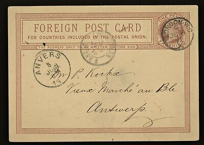 1876 Great Britain Penny Foreign Postcard London to Antwerp