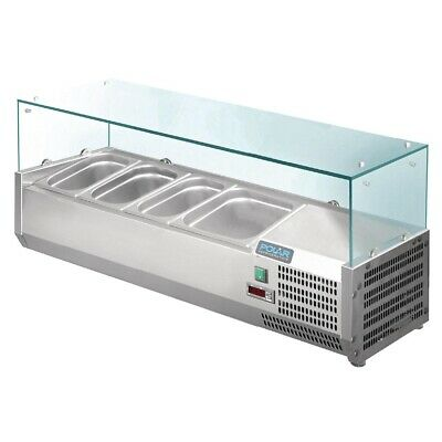 Polar Tower Display Case 3 x Gn 1/3 + 1 x 1/2 Refrigerated Kühlaufsatzvitrine