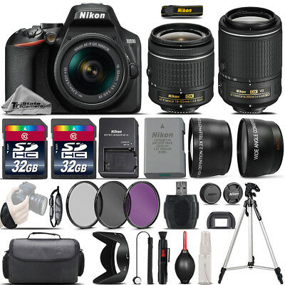 Nikon D3500 Digital SLR Camera + 18-55mm VR + 55-200mm VR II + 64GB - 4 Lens Kit