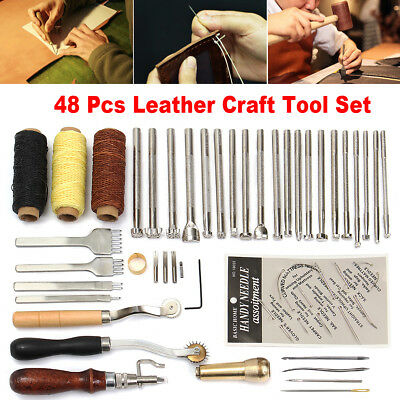 48x Leder Werkzeug Leather Stitching Craft Hand Sewing Stitching Groover Kit Set