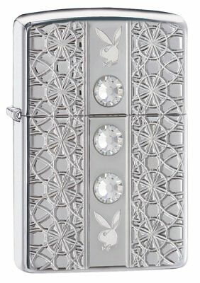 Zippo ARMOR PLAYBOY JEWELLED Windproof Lighter - High polished chrome, standard