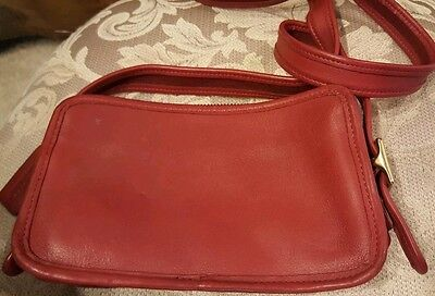 Coach Pre Owned Eod9164 Red Square Zippered Crossbody Purse
