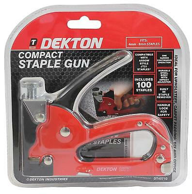 Dekton Compact Staple Gun 4-8mm Staples Durable Steel Staple Remover - DT40710