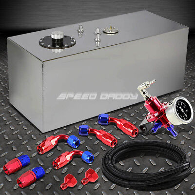 19 Gallon Top-Feed Aluminum Fuel Cell Tank+Cap+Line Kit+Pressure Regulator Red