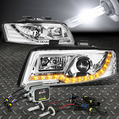 Chrome Projector Headlight+Amber Signal+Led Drl+6000K Hid Kit For 02-05 B6 A4/s4