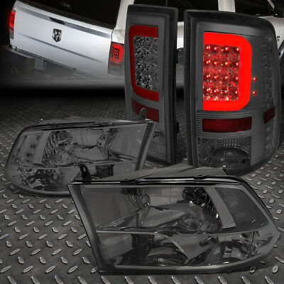 For 2009-2017 Dodge Ram Red Led Bar Smoked Tail Light+Clear Side Quad Headlight