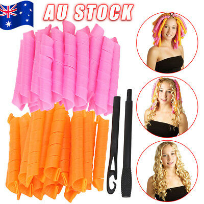 40PCS Long DIY Magic Hair Curler Leverage Curlers Formers Spiral Styling Rollers