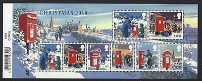 Great Britain 2018 Christmas Stamps Barcoded Miniature Sheet Unmounted Mint, Mnh