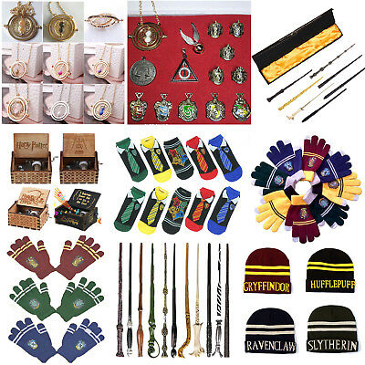 Harry Potter Magic Wand Necklace Hat Gryffindor Slytherin Hufflepuff Cosplay Lot