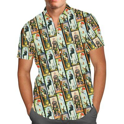 Haunted Mansion Stretch Paintings Mens Button Down Short Sleeve Shirt