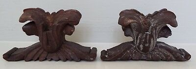 2 Small Antique Hand Carved Wooden Finials Furniture Topper Pediment Treen