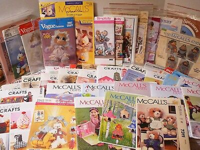 Vintage Stuffed Dolls, Toys, Decorative Crafts Sewing Patterns, 62 U-Pick