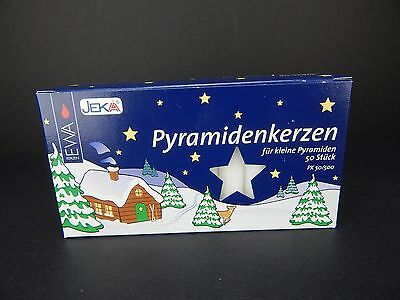 50 German Christmas Pyramid Candles White EWA Jeka 14MM X 70MM Windmill