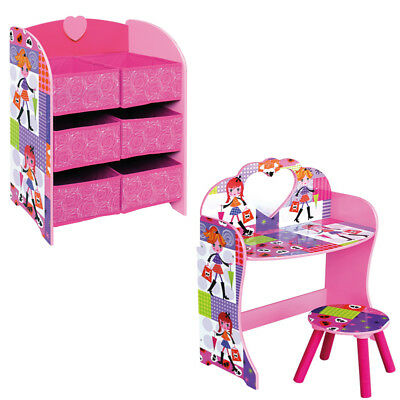 Girls Pink Dressing Table Play Set Kid Storage Unit Toy Christmas Furniture Gift