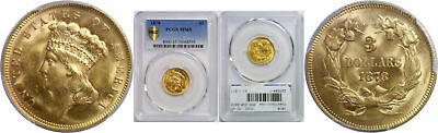 1878 $3 Gold Coin PCGS MS-65