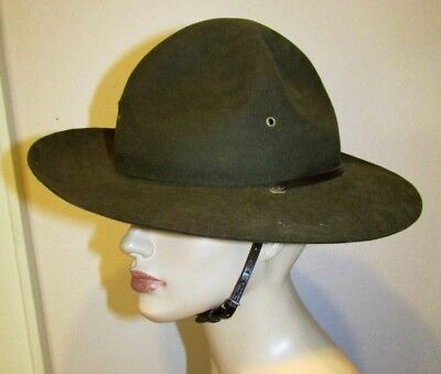 Vtg BSA Boy Scout Campaign Hat Green Wool Felt Leather Chin Strap Adult 7-1/2/60