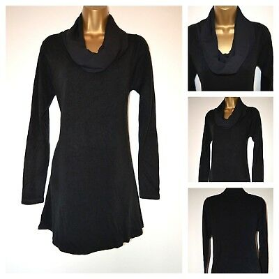 NEW £28 MARKS /& SPENCER M/&S BLACK COWL NECK TUNIC TOP FINE KNIT CASUAL SZ 6-16