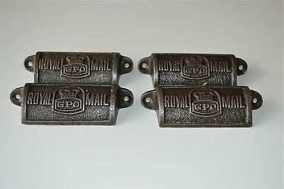4 vintage cast iron Royal Mail GPO drawer pull handles chest post office GPO