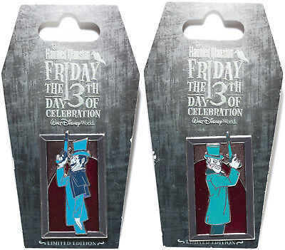 Disney WDW Haunted Mansion Friday 13th Left + Right Dueler 2 pin Set New On Card