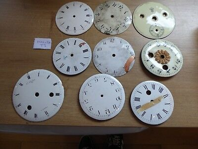 9 Enamelled Clock  Dials For The Clockmaker