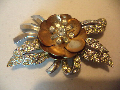 Vintage Antique Art Deco Flower Floral Rhinestone Trembler Two Tone Brooch Pin!