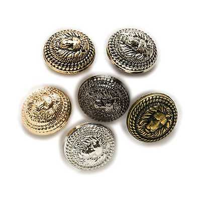 Lion Pattern Shank Metal Button Round fit Suits Blazer Jacket 5pcs of pack