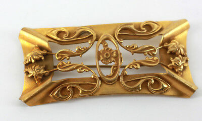 Antique 1800's Art Nouvea Gold Tone Brass Buckle Style Large Brooch/Pin