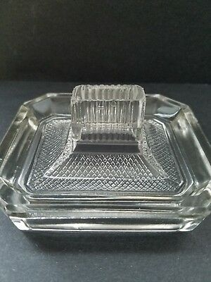 Vintage Matchbox Holder Heavy Clear Glass Cigarette Cigar Ashtray