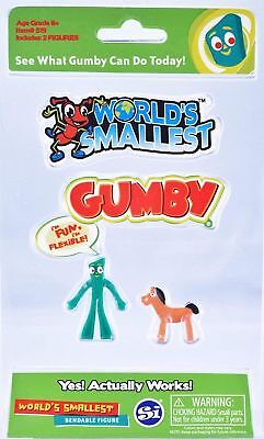 World's Smallest Gumby and Pokey Collectable Bendable Action Figure Set Gag Gift