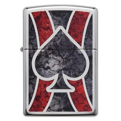 Zippo 28952 Spade Stained Glass Fusion Windproof High Polish Chrome Lighter
