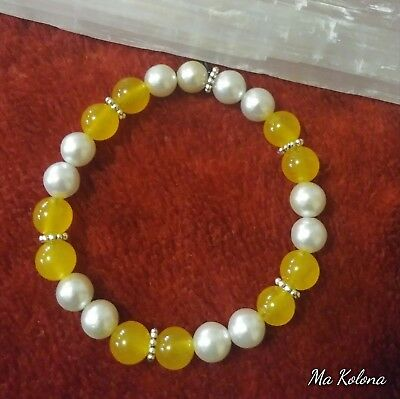 Unique Creations, 8 mm White Pearl, Yellow Jade Hand-crafted,Healing Bracelet...