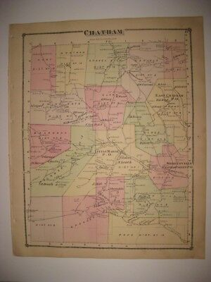Antique 1875 Chatham Township Tioga County Pennsylvania Handcolored Map Rare Nr
