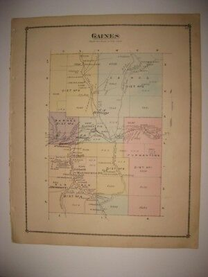 Antique 1875 Gaines Township Tioga County Pennsylvania Handcolored Map Superb