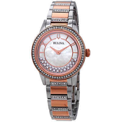 Bulova Crystal Turnstyle Mother of Pearl Dial Two-Tone Ladies Watch 98L246