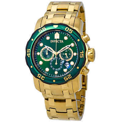 Invicta Pro Diver Chronograph Green Dial 18kt Gold-plated Men's Watch 80072