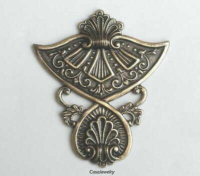 E-4370 Art Deco Irish Celtic Focal Connector Stampings Frame BRASS 2 Pieces