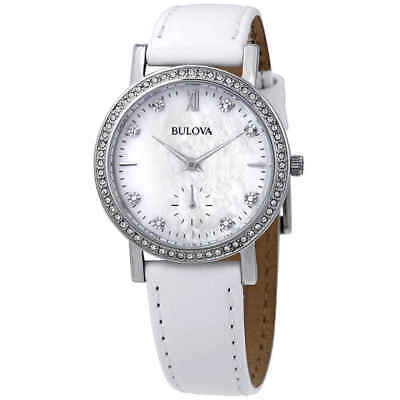 Bulova Crystal Mother of Pearl Dial Ladies Watch 96L245