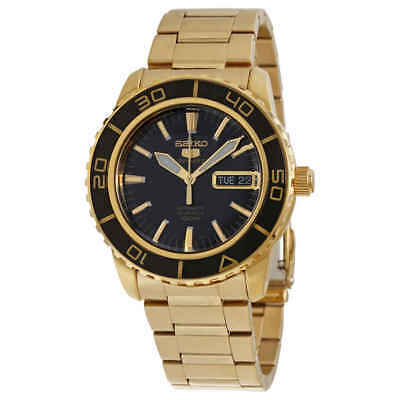 Seiko 5 Automatic Black Dial Gold-tone Men's Watch SNZH60