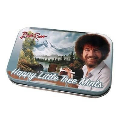 Bob Ross Happy Little Tree PepperMints In Embossed Metal Tin, NEW SEALED