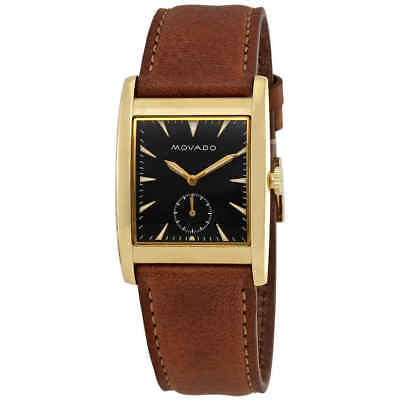Movado Heritage Black Dial Brown Leather Men's Watch 3650043