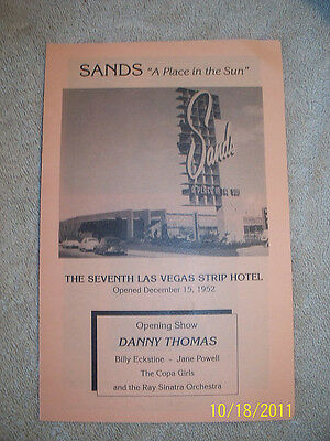 "Sands Hotel  ""A Place In The Sun"" Information Pamphlet Las Vegas Nevada"