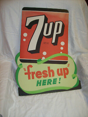 """7-UP THE """"Fresh Up"""" EASEL BACK STORE DISPLAY SIGN"""