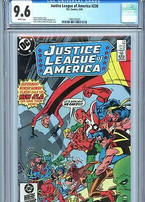 Justice League of America #238 CGC 9.6 White Pages DC Comics 1985