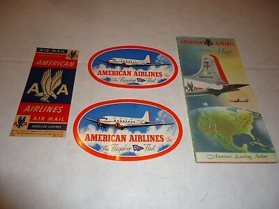 AA American Airlines system map vtg  stickers luggage decal airplane