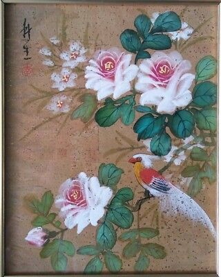 Vintage Japanese Cork Painting - Bird With Flowers