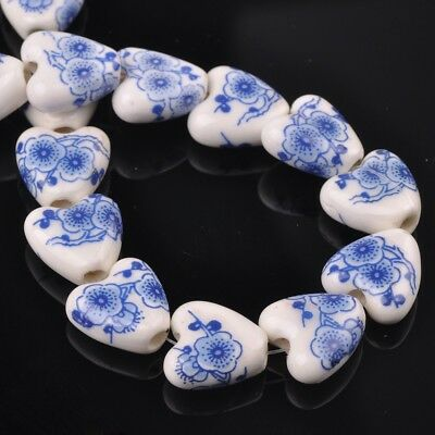 NEW 10pcs 14mm Ceramic Heart Flowers Loose Spacer Beads Findings Pattern #2
