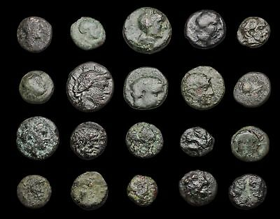GREEK. Lot of 20 small bronze coins to ID, Various types