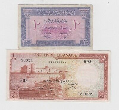 Lebanon Paper Money two old notes vf
